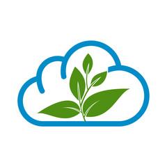 eco cloud, green cloud, leaf, oak vector logo design