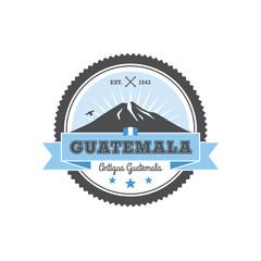Antigua Guatemala badge with volcano Agua. Patch, vector