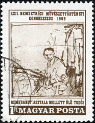 stamp printed by Hungary, shows picture The Scholar, by Rembrandt, circa 1969