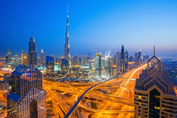 View on modern skyscrapers and busy evening highways in luxury Dubai city,Dubai,United Arab Emirates