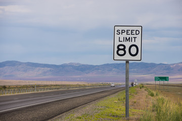 Speed limit 80 sign along highway