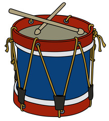 Hand drawing of a classic color wooden drum