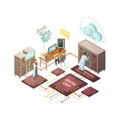 Server Room Isometric Illustration
