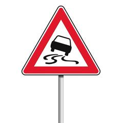 Achtung Schild Glätte oder Rutsch Gefahr