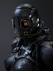 3d rendering of a cyborg girl