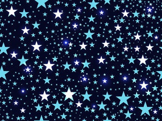 Seamless pattern with stars, deep space. Vector illustration.
