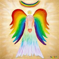 Engel mit bunten Flügeln und Herz, Malerei von Carola Vahldiek, Mischtechnik, Gouache-Farbe, Acryl-Struktur-Gel und Acrylfarbe auf Leinwand