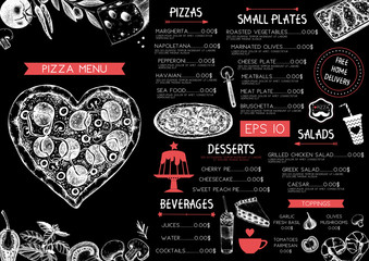 Vintage menu design for cafe or restaurant. Valentine's Day template. Vector background with hand drawn food and drinks sketch