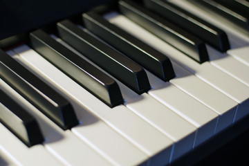 Piano keys closeup background.