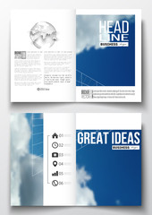 Set of business templates for brochure, magazine, flyer, booklet or annual report. Beautiful blue sky, abstract geometric background with white clouds, leaflet cover, layout, vector illustration.