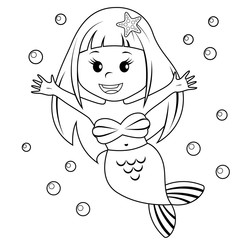 Cute little mermaid. Black and white vector illustration for coloring book