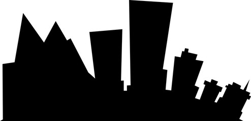 Cartoon silhouette of the city of Anchorage, Alaska, USA.