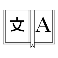 Dictionary japanese to english icon, outline style