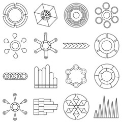 Infographic items icons set, outline style