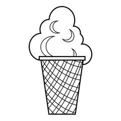 Ice cream icon, outline style