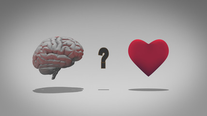 Head versus heart - logic over emotion in a 3D illustration