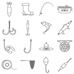 Fishing tools items icons set, outline style