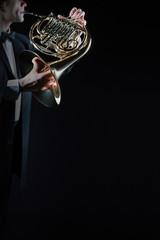 Tuinposter Muziek Horn music instrument playing