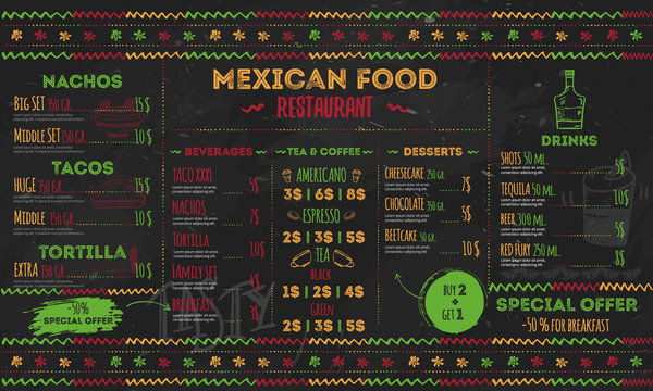 Mexican Food Restaurant menu, template design.  flyer for promotion, site banner
