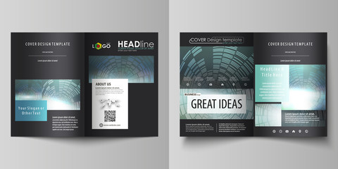 Business templates for bi fold brochure, magazine, flyer, report. Cover design template, easy editable vector, abstract layout in A4 size. Technology background in geometric style made from circles.