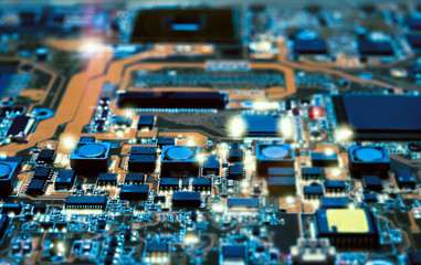 Closeup of electronic board, shallow DOF, technological background