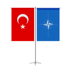 table stand with flags of turkey and nato. symbolizing the cooperation between the two countries. vector table flags