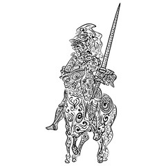 Zentangle stylized Vector ink sketch of a knight on the horse
