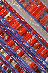 colorful shelves in the warehouse
