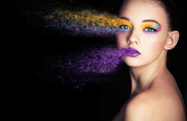 Wall Mural - beautiful girl with creative make-up. effect photoshop. Creative make-up, studio photo, photo processing,