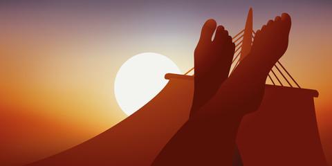 Hamac - détente - pied - vacances - Coucher de soleil