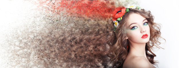 Wall Mural - Fashion model girl portrait with colorful powder make up. Beauty woman bright color makeup. Close-up of Vogue style lady face, Abstract multicolor make-up, Art design. Makeup Pigment powder explosion