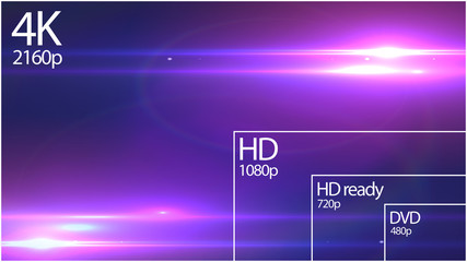 4K resolution display with comparison of resolutions. Abstract background