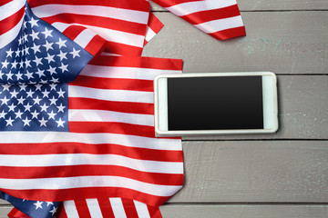 Us flag and smartphone