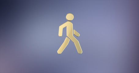 Walking Man on Crosswalk Gold 3d Icon