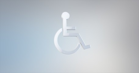 Wheelchair Disabled ISA Access White 3d Icon