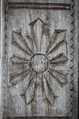 Close up shot of some wooden decoration in Maramures, Romania.