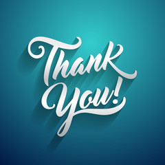 Thank you beautiful lettering text vector illustration.