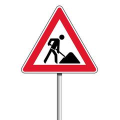 Bauarbeiten Achtung Vorsicht Schild an Eisen Stange
