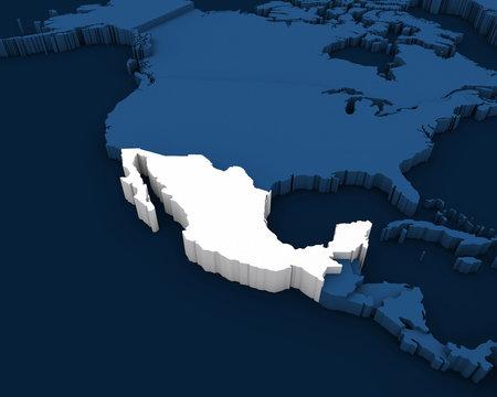 mexico map 3D illustration
