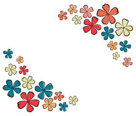 graphic design editable for your design, hand drawn colorful lovely modern geometrical flower patterns isolated on white background. Vector Illustration.