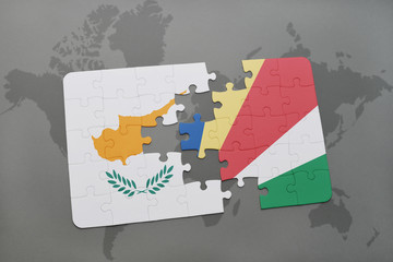 puzzle with the national flag of cyprus and seychelles on a world map