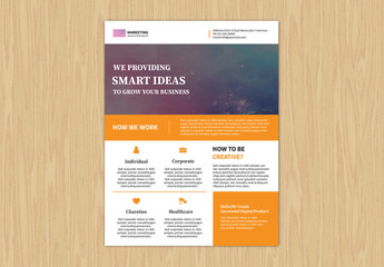 Single Page Flyer Layout with Color Block Design