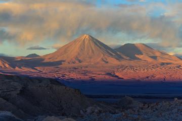 Sunset on the volcano Licancabur. Atacama, Chile