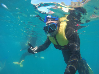 Scuba Diver Underwater taking a selfie