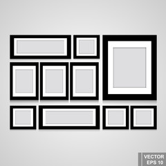 Set of photo frame. Black. Isolated on gray background. For your design.