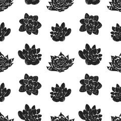 Vector seamless pattern with succulent cactus.