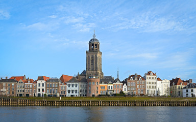 View of the medieval Dutch city Deventer with the Great Church