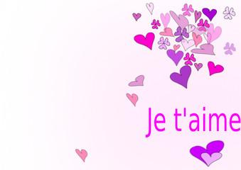 carte de st valentin,je t'aime en coeurs roses