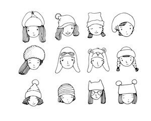 Different faces. People in winter hats. Hand drawing isolated objects on white background.