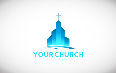 Blue church christian cross vector logo icon sign design template